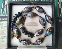 ANTIQUE ART DECO VENETIAN MILLEFIORI AVENTURINE TRADE BEADS NECKLACE BEAUTIFUL