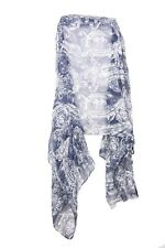 Navy Blue & Off White Paisley Print Everyday Wear Casual Wrap Scarf (s103)