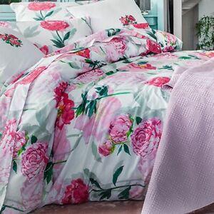 ANNE DE SOLENE PARIS LEONIE QUEEN DUVET COVER SET 2 SHAM PINK PEONY ROSE FLOWER