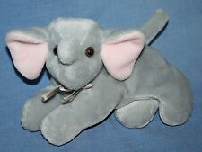 "A&A ELEPHANT 9"" Soft Toy Gray Pink Ear Plush Baby Bow Bean Bag Stuffed Animal"