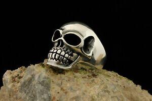 Turkish Handmade Ottoman Style 925 Sterling Silver Skull Men's Ring 10.5 Man