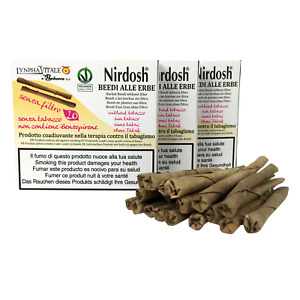 Nirdosh 3 Packungen Kräuterzigaretten Ohne Filter, Packung mit 20 Beedies