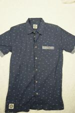 RIP CURL surf craft navy blue white wave print 100% cotton short sleeve casual s