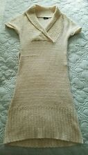 Junior's  Short Sleeve Sweater Dress Ivory size Small by Rue 21 Acrylic Blend