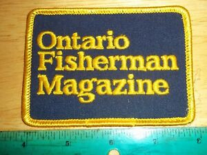 VINTAGE ONTARIO FISHERMAN MAGAZINE PATCH fishing angler rods reels lures tackle