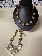 Bcbg & J.Crew Tortoise & Crystals Circle Link Statement Necklace $128 Floral Cre