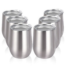 6pcs Wine Tumbler 12Oz Stainless Steel Wine Glass Unbreakable Drink-Ware Cup