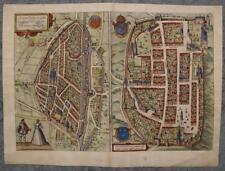 CHARTRES & CHÂTEAUDUN FRANCE 1575 BRAUN/HOGENBERG UNUSUAL ANTIQUE ORIGINAL VIEW