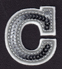 """LETTERS - Silver  Sequin  2"""" Letter """"C"""" - Iron On Embroidered Applique"""