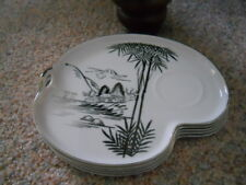 "5 VINTAGE 9"" China Tea Snack Plates BAMBOO TREES MT FUJI Silver Japan Kutani?"