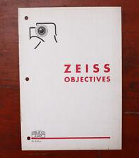 Zeiss Objectives Sales Brochure, H.Viii 39-A000/cks/190842