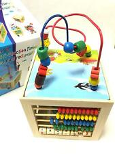 Kids Baby Children Multi Function Wooden Activity Cube 5 in 1 Beads Puzzle Toy