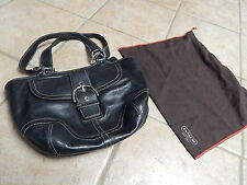 AUTHENTIC  COACH BLACK LEATHER SOHO BUCKLE SHOULDER HANDBAG 9637, DUST BAG
