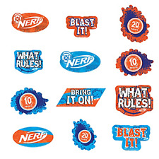 NERF CUTOUT DECORATIONS (12) ~ Birthday Party Supplies Paper Hasbro Game Toys
