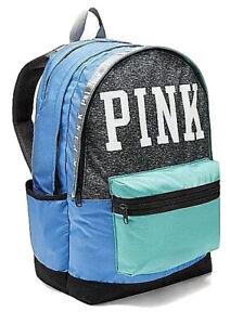 NEW! Victoria's Secret PINK Campus Backpack Full Size School Grey Marl Blue Mint
