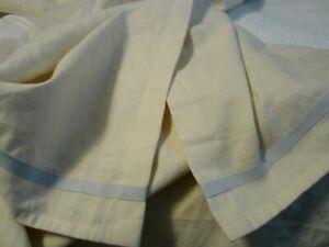 "Lauren Ralph Lauren Queen Size Pleated Bed Skirt 15"" Ivory + Light Blue Trim"