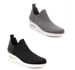 Women DKNY ALAN Wedge Slip On Sneakers Textile Gray