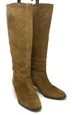 Authentic LOEWE Logo Long Boots Low Heels Women's #36 US5.5 Suede Beige Rank B