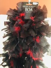 Red & Black Feather Boa - Great For Costume Party - New w/Tag - 6ft Long