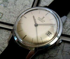 SERVICED! Swiss 1960s Gubelin Ipso-Day automatic wristwatch, genuine whale strap