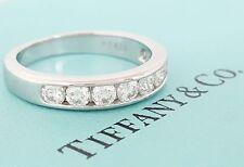 Tiffany & Co 0.81 ct Platinum Round Cut Diamond Half Circle Band 3.9 mm Size 8