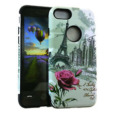 For iPhone 7 / 8 - HYBRID HARD & SOFT RUBBER ARMOR CASE COVER EIFFEL TOWER ROSES