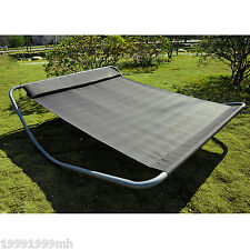 Outsunny Double Sun Lounger Hammock Bed with Stand Patio Outdoor Furniture Grey