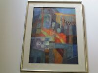 CAROLE BARNES DRAWING COLORADO MODERNIST ABSTRACT EXPRESSIONISM MODERNISM CITY