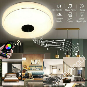 36W RGB LED Ceiling Light Bluetooth Speaker Music Lamp Dimmable w/APP Remote QW