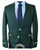 Scottish Green Argyle Kilt Jacket 100% Wool - Custom Made Highland Men's Jacket