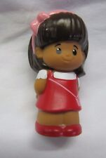Fisher Price Little People MIA in RED JUMPER DRESS Hispanic Girl Pink Bow