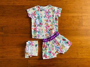 Bonds Blossoming Butterflies White Pink Blue Short PJ Set Size 2 BNWT Pyjamas