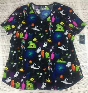 Nightmare Before Christmas Women's Medical Scrub Top Size S, XL, 3XL