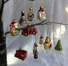 12 Vintage Style Glass Christmas Tree Decorations Retro Gisela Graham Santa Car