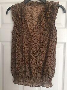 Sleeveless Animal Print Top Size 10 Gold /brown