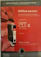 Office Depot Canon CLI-8 Remanufactured Ink Cartridge Black New Sealed Free Ship