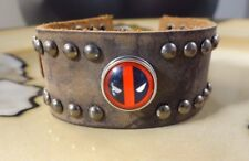 DEADPOOL large Brown Leather snap button bracelet gifts for men