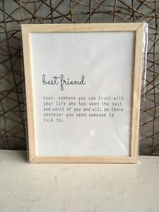 Heaven Sends natural wooden framed Best Friends quote wall art 40cm