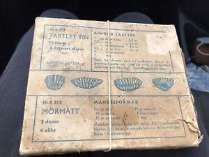 Vintage Tartlet  Tins, 24 Pieces In Original Box- Made In Sweden