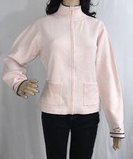 Horny Toad Sweater Jacket Medium Pastel Pink Dark Brown Stripe Warm Casual Top