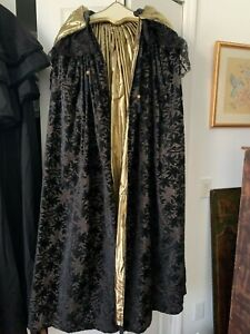 VINTAGE OPERA CAPE WITH HOOD BLACK VELVET, GOLD THREADS & LINING LACE REDUCED