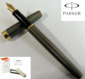 Parker Sonnet Series Fountain Pen Gray Grid Gold Trim Fine Steel Nib Gift Box