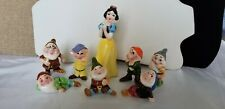 Vintage Walt Disney Snow White And The 7 Dwarfs Ceramic Miniature Figurines Set