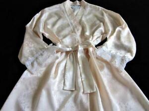 Womens Christian Dior Robe S/M Long Dressing Gown Lacy Pink Satin Vintage
