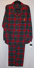 RALPH LAUREN LADIES GREEN RED PLAID FLANNEL PAJAMAS SIZE EXTRA LARGE NEW W/ TAGS