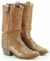 Tony Lama Men's Brown Leather Western Cowboy Boots Vintage Black Label US Made 9