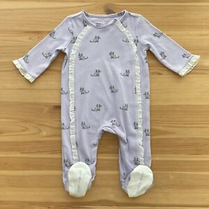 NWOT JANIE AND JACK Purple Ruffled Kitty Footed Romper Size 0-3 Months