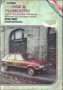 Clymer DODGE PLYMOUTH 1978 to 1987 Shop Manual Omni Charger Horizon Scamp TC3