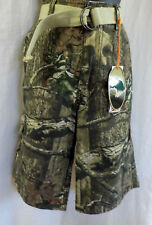 Mossy Oak Wear First Cargo Shorts Size 30 NWT Camouflague Cotton Blend Web Belt