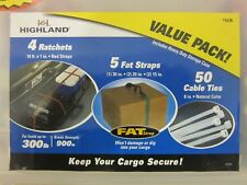 HIGHLAND CARGO VALUE PACK, 11678, RATCHETS FAT STRAPS CABLE TIES, FREE SHIP